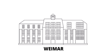 Germany, Weimar,Bauhaus line travel skyline set. Germany, Weimar,Bauhaus outline city vector panorama, illustration, travel sights, landmarks, streets.