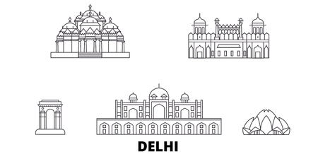 India, Delhi line travel skyline set. India, Delhi outline city vector panorama, illustration, travel sights, landmarks, streets.
