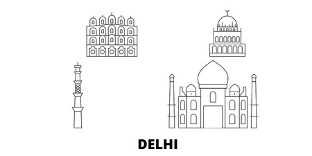 India, Delhi City line travel skyline set. India, Delhi City outline city vector panorama, illustration, travel sights, landmarks, streets.