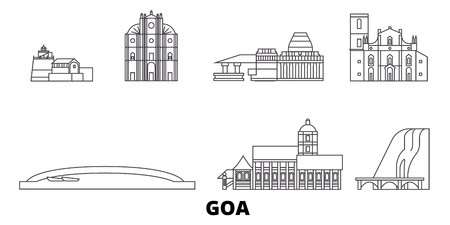 India, Goa line travel skyline set. India, Goa outline city vector panorama, illustration, travel sights, landmarks, streets.