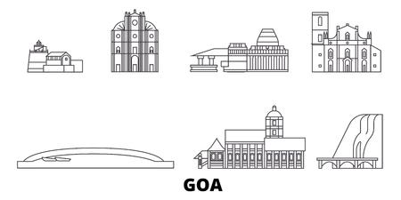 India, Goa line travel skyline set. India, Goa outline city vector panorama, illustration, travel sights, landmarks, streets.