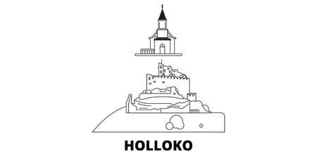 Hungary, Holloko, Old Village line travel skyline set. Hungary, Holloko, Old Village outline city vector panorama, illustration, travel sights, landmarks, streets. 일러스트