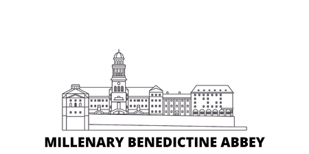 Hungary, Millenary Benedictine Abbey line travel skyline set. Hungary, Millenary Benedictine Abbey outline city vector panorama, illustration, travel sights, landmarks, streets. Illustration