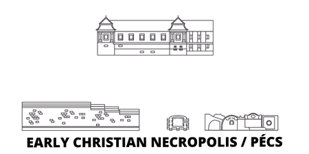 Hungary, Pecs, Early Christian Necropolis  line travel skyline set. Hungary, Pecs, Early Christian Necropolis  outline city vector panorama, illustration, travel sights, landmarks, streets.