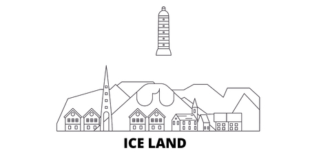 Iceland line travel skyline set. Iceland outline city vector panorama, illustration, travel sights, landmarks, streets.