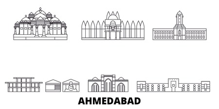 India, Ahmedabad line travel skyline set. India, Ahmedabad outline city vector panorama, illustration, travel sights, landmarks, streets.