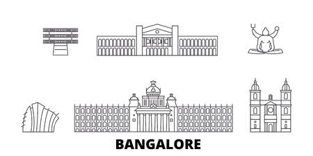 India, Bangalore line travel skyline set. India, Bangalore outline city vector panorama, illustration, travel sights, landmarks, streets. Çizim