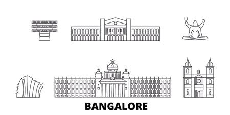 India, Bangalore line travel skyline set. India, Bangalore outline city vector panorama, illustration, travel sights, landmarks, streets. Illustration