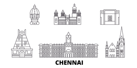 India, Chennai line travel skyline set. India, Chennai outline city vector panorama, illustration, travel sights, landmarks, streets.