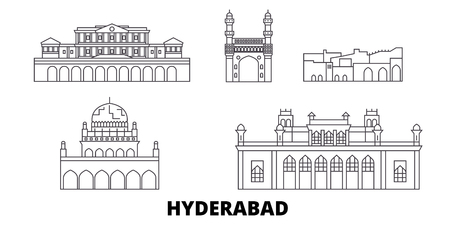 India, Hyderabad line travel skyline set. India, Hyderabad outline city vector panorama, illustration, travel sights, landmarks, streets.