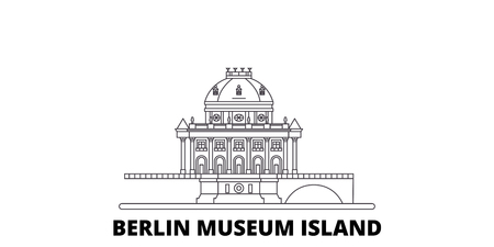 Germany, Berlin, Museum Island line travel skyline set. Germany, Berlin, Museum Island outline city vector panorama, illustration, travel sights, landmarks, streets. Stock Vector - 120564954