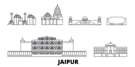 India, Jaipur line travel skyline set. India, Jaipur outline city vector panorama, illustration, travel sights, landmarks, streets.