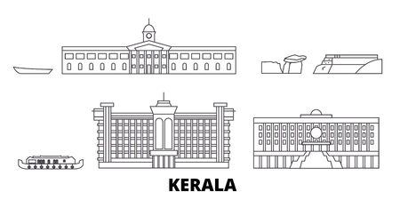 India, Kerala line travel skyline set. India, Kerala outline city vector panorama, illustration, travel sights, landmarks, streets.