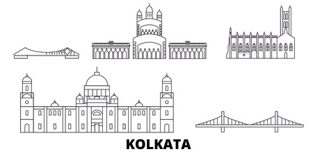 India, Kolkata line travel skyline set. India, Kolkata outline city vector panorama, illustration, travel sights, landmarks, streets. Фото со стока - 120564956