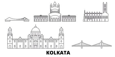 India, Kolkata line travel skyline set. India, Kolkata outline city vector panorama, illustration, travel sights, landmarks, streets.