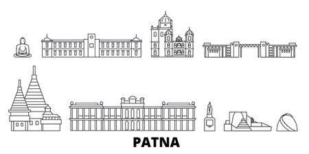 India, Patna line travel skyline set. India, Patna outline city vector panorama, illustration, travel sights, landmarks, streets.