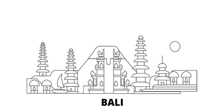 Indonesia, Bali line travel skyline set. Indonesia, Bali outline city vector panorama, illustration, travel sights, landmarks, streets. Ilustração