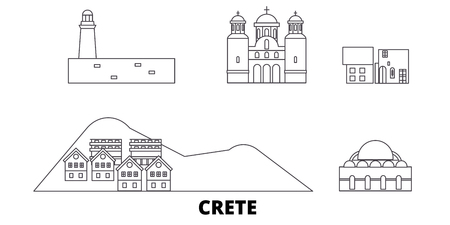 Greece, Crete line travel skyline set. Greece, Crete outline city vector panorama, illustration, travel sights, landmarks, streets.