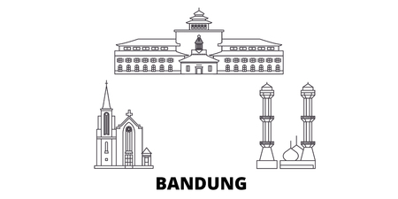 Indonesia, Bandung line travel skyline set. Indonesia, Bandung outline city vector panorama, illustration, travel sights, landmarks, streets.