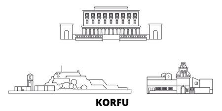 Greece, Korfu line travel skyline set. Greece, Korfu outline city vector panorama, illustration, travel sights, landmarks, streets. Reklamní fotografie - 123962752