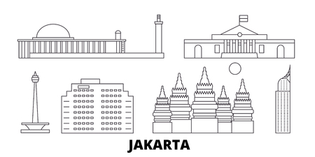 Indonesia, Jakarta line travel skyline set. Indonesia, Jakarta outline city vector panorama, illustration, travel sights, landmarks, streets. Stock Vector - 120564959