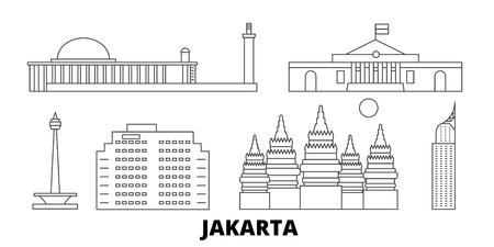 Indonesia, Jakarta line travel skyline set. Indonesia, Jakarta outline city vector panorama, illustration, travel sights, landmarks, streets.