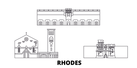 Greece, Rhodes line travel skyline set. Greece, Rhodes outline city vector panorama, illustration, travel sights, landmarks, streets.