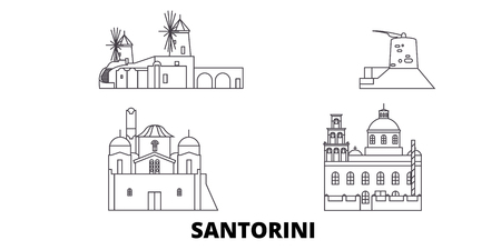 Greece, Santorini line travel skyline set. Greece, Santorini outline city vector panorama, illustration, travel sights, landmarks, streets. Çizim