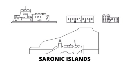 Greece, Saronic Islands line travel skyline set. Greece, Saronic Islands outline city vector panorama, illustration, travel sights, landmarks, streets.