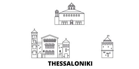 Greece, Thessaloniki line travel skyline set. Greece, Thessaloniki outline city vector panorama, illustration, travel sights, landmarks, streets.