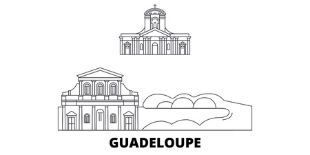 Guadeloupe line travel skyline set. Guadeloupe outline city vector panorama, illustration, travel sights, landmarks, streets.