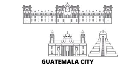 Guatemala, Ciudad de Guatemala, la línea del horizonte de viaje. Guatemala, ciudad de Guatemala esquema panorama vectorial de la ciudad, ilustración, lugares turísticos, monumentos, calles.