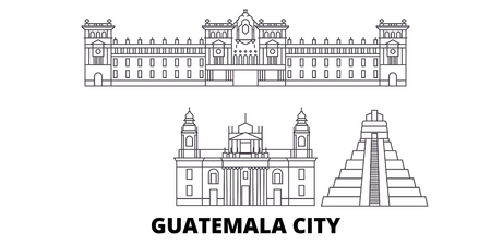 Guatemala, Guatemala City line travel skyline set. Guatemala, Guatemala City outline city vector panorama, illustration, travel sights, landmarks, streets. Illustration
