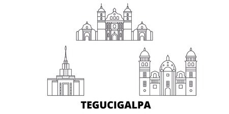 Honduras, Tegucigalpa line travel skyline set. Honduras, Tegucigalpa outline city vector panorama, illustration, travel sights, landmarks, streets.