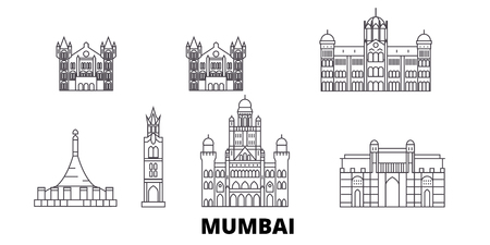 India, Mumbai 2 line travel skyline set. India, Mumbai 2 outline city vector panorama, illustration, travel sights, landmarks, streets.