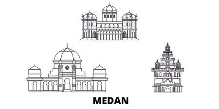 Indonesia, Medan line travel skyline set. Indonesia, Medan outline city vector panorama, illustration, travel sights, landmarks, streets. Stock Vector - 120564973