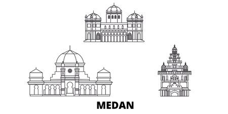 Indonesia, Medan line travel skyline set. Indonesia, Medan outline city vector panorama, illustration, travel sights, landmarks, streets.