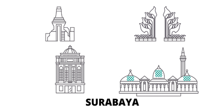 Indonesia, Surabaya line travel skyline set. Indonesia, Surabaya outline city vector panorama, illustration, travel sights, landmarks, streets. 向量圖像
