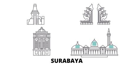 Indonesia, Surabaya line travel skyline set. Indonesia, Surabaya outline city vector panorama, illustration, travel sights, landmarks, streets. Illustration