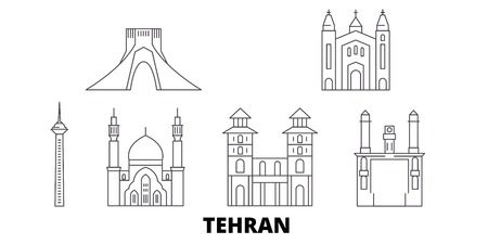 Iran, Tehran line travel skyline set. Iran, Tehran outline city vector panorama, illustration, travel sights, landmarks, streets.