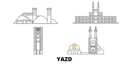 Iran, Yazd line travel skyline set. Iran, Yazd outline city vector panorama, illustration, travel sights, landmarks, streets.