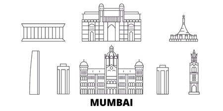 India, Mumbai line travel skyline set. India, Mumbai outline city vector panorama, illustration, travel sights, landmarks, streets.