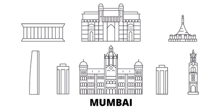India, Mumbai line travel skyline set. India, Mumbai outline city vector panorama, illustration, travel sights, landmarks, streets.