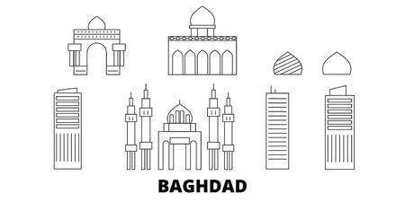 Iraq, Baghdad line travel skyline set. Iraq, Baghdad outline city vector panorama, illustration, travel sights, landmarks, streets.