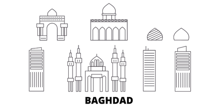 Iraq, Baghdad line travel skyline set. Iraq, Baghdad outline city vector panorama, illustration, travel sights, landmarks, streets.