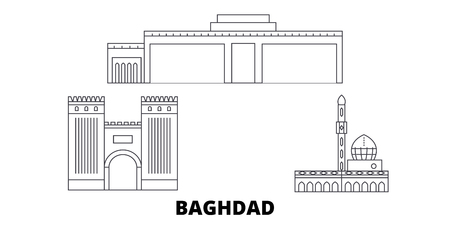 Iraq, Baghdad City line travel skyline set. Iraq, Baghdad City outline city vector panorama, illustration, travel sights, landmarks, streets. Ilustrace