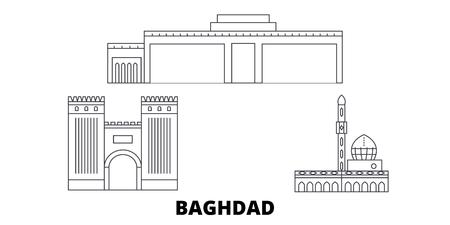 L'Iraq, Bagdad City line travel skyline set. L'Iraq, Bagdad City contours panorama vectoriel de la ville, illustration, sites touristiques, monuments, rues.