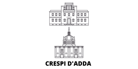 Italy, Crespi Dadda  line travel skyline set. Italy, Crespi Dadda  outline city vector panorama, illustration, travel sights, landmarks, streets.
