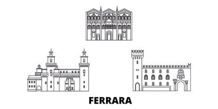 Italy, Ferrara line travel skyline set. Italy, Ferrara outline city vector panorama, illustration, travel sights, landmarks, streets.