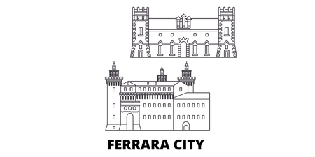 Italy, Ferrara City line travel skyline set. Italy, Ferrara City outline city vector panorama, illustration, travel sights, landmarks, streets. Stock Vector - 120564981
